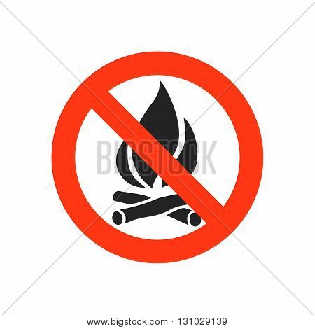 Sign not fire. Prohibition open flame symbol. No bonfire sign. Stop fire. No camp-fire sign. Dangerous fire. Stock vector illustration