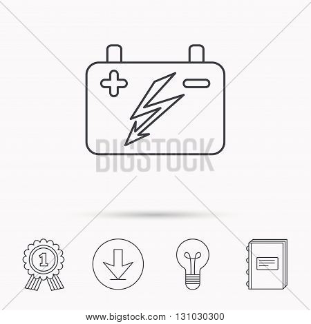 Accumulator icon. Electrical battery sign. Download arrow, lamp, learn book and award medal icons.
