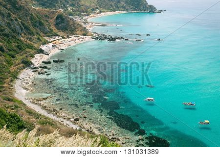 The wonderful coastline at Capo Vaticano near Tropea, Calabria, Italy