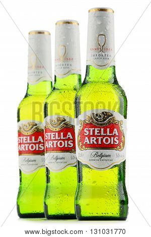 Three Bottles Of Stella Artois Beer Isolated On White