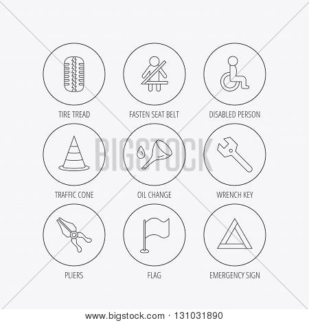 Tire tread, traffic cone and wrench key icons. Emergency triangle, flag and pliers linear signs. Disabled person icons. Linear colored in circle edge icons.