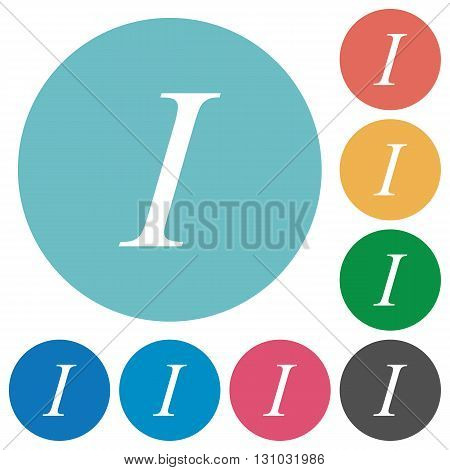 Flat italic font icon set on round color background.