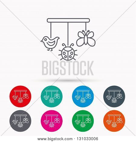 Baby toys icon. Butterfly, ladybug and bird sign. Entertainment for newborn symbol. Linear icons in circles on white background.