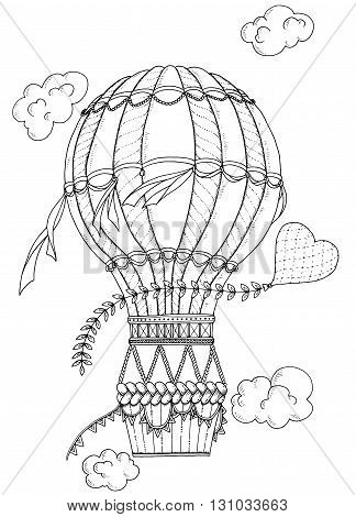 Summer theme. Black and white air balloon and doodle heart. Doodle romantic background. Zentangle inspired pattern with aerostat for coloring book pages for adults and kids.