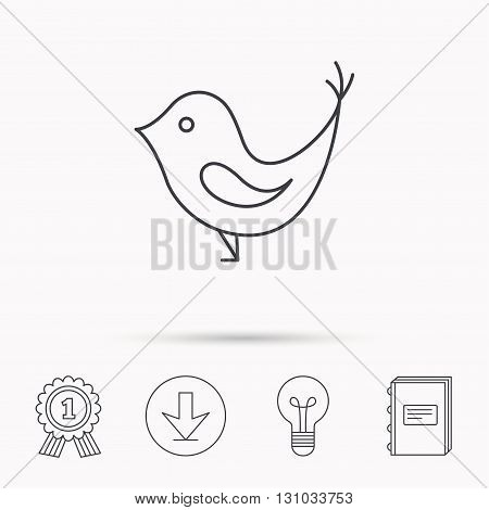Bird with beak icon. Cute small fowl symbol. Social media concept sign. Download arrow, lamp, learn book and award medal icons.