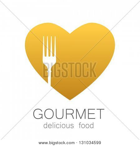Gourmet logo. Delicious food. Golden Heart with silhouette of fork on white background.Lovely food logo template. Love Food logo. Template logo for restaurant, cafe, fast food, store food.