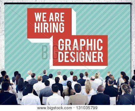 We are Hiring Job Creative Occupation Designer Concept