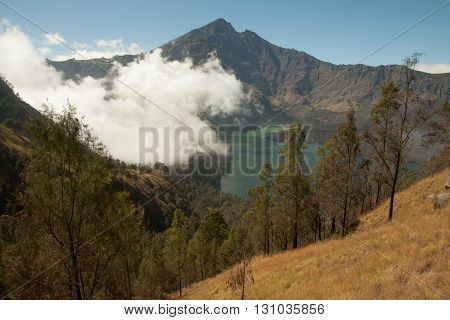 Rinjani Crater Rim Mountain Vulcano Hike. Beautiful landscape on lombok island, Indonesia.