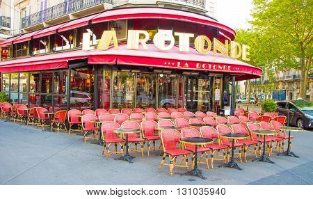 Paris France-May 16 2016 : The cafe La Rotonde is the famous cafe in the Montparnasse quarter of Paris.It had been frequented by Pablo Picasso Amadeo Modigliani Wassilii Kandinsky...