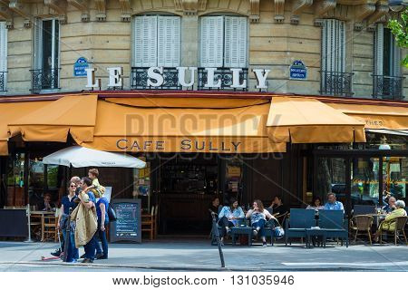 Paris France-May 21 2016 : The traditional French cafe Le Sully is a familial brasserie since 1917 located at boulevard Henri IV in 4th arrondissement of Paris.