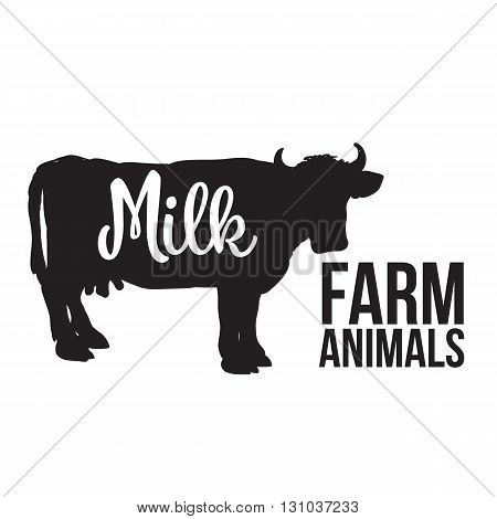 black contour cow farm with a white inscription inside, cow animal, cattle, horned animal, domestic cow, food, animal outline for the product with lettering on the beef meat