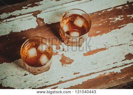 Two Glasses Of Whiskey Vintage Photo, A Bottle On The Bar