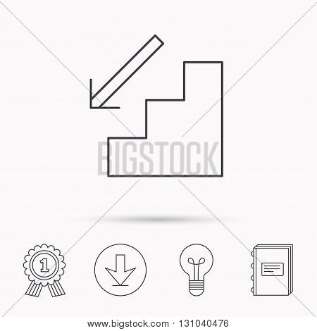 Downstairs icon. Direction arrow sign. Download arrow, lamp, learn book and award medal icons.