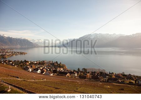 Lake Geneva (Lac Leman) with Montreux in the background
