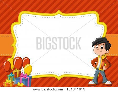 Card with a cartoon boy having fun at birthday party