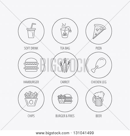Hamburger, pizza and soft drink icons. Beer, tea bag and chips fries linear signs. Chicken leg, carrot icons. Linear colored in circle edge icons.