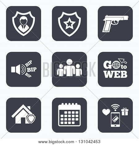 Mobile payments, wifi and calendar icons. Security agency icons. Home shield protection symbols. Gun weapon sign. Group of people or Share. Go to web symbol.