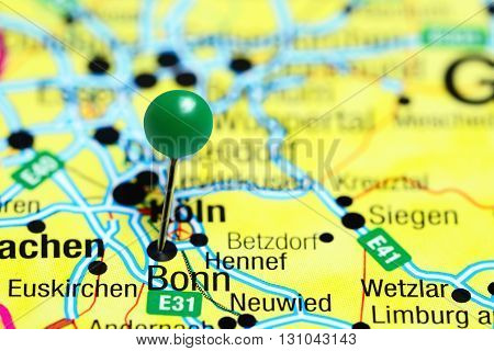 Bonn pinned on a map of Germany