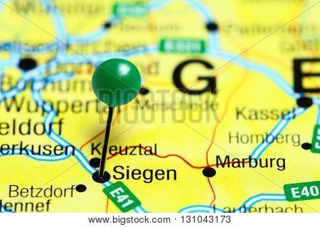 Siegen pinned on a map of Germany