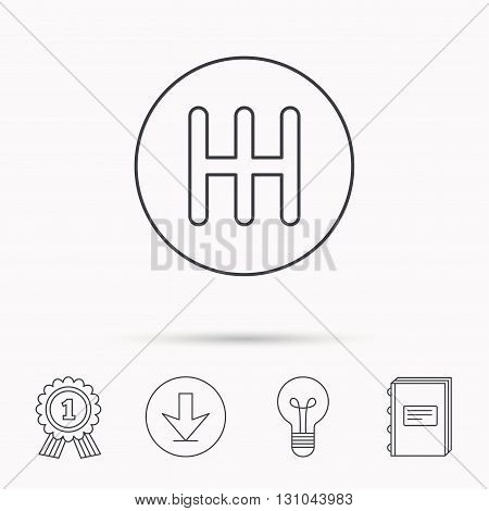Manual gearbox icon. Car transmission sign. Download arrow, lamp, learn book and award medal icons. poster