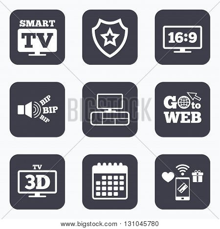 Mobile payments, wifi and calendar icons. Smart TV mode icon. Aspect ratio 16:9 widescreen symbol. 3D Television and TV table signs. Go to web symbol.