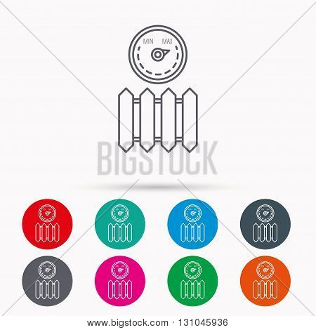 Radiator with regulator icon. Heater sign. Maximum temperature. Linear icons in circles on white background.