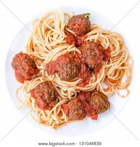 Spaghetti With Meatballs And Tomato Sauce (isolated On White)