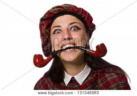 Scottish woman isolated on the white background