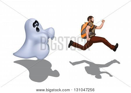 illustration of running out man from ghost with shadow