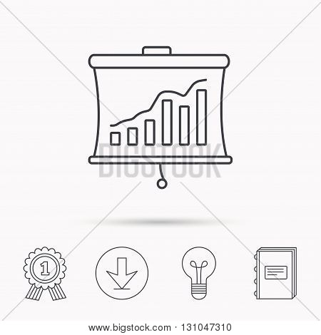 Statistic icon. Presentation board sign. Growth chart symbol. Download arrow, lamp, learn book and award medal icons.