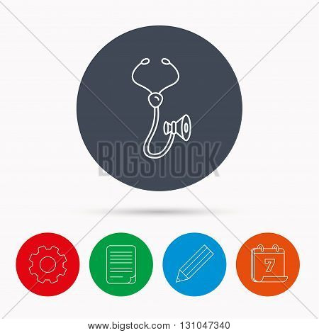 Stethoscope icon. Medical doctor equipment sign. Pulmology symbol. Calendar, cogwheel, document file and pencil icons.