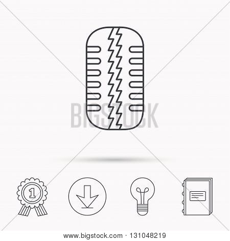 Tire tread icon. Car wheel sign. Download arrow, lamp, learn book and award medal icons.
