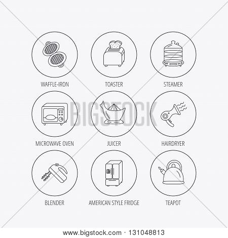 Microwave oven, teapot and blender icons. Refrigerator fridge, juicer and toaster linear signs. Hair dryer, steamer and waffle-iron icons. Linear colored in circle edge icons.