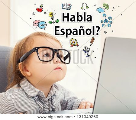 Habla Espanol Concept With Toddler Girl