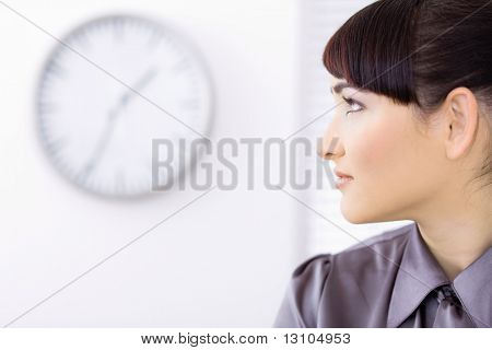 Profile portrait of beautiful young businesswoman.