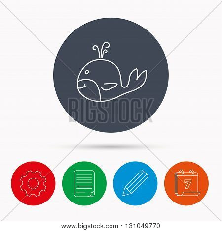 Whale icon. Largest mammal animal sign. Baleen whale with fountain symbol. Calendar, cogwheel, document file and pencil icons.