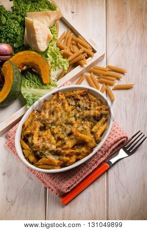 oven pasta with pumpkins and savoy cabbage