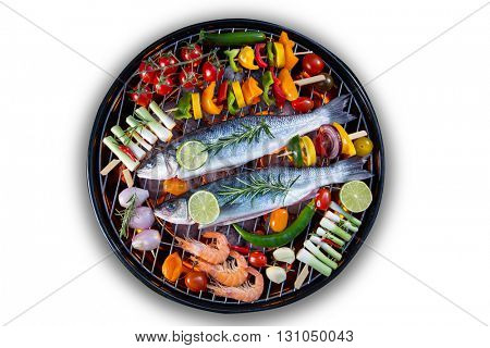 Barbecue grill with sea fishes on white background.