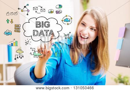 Big Data Concept With Young Woman