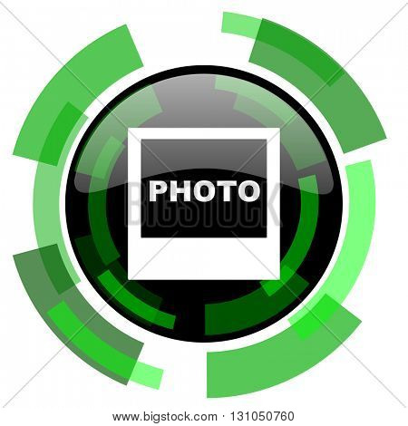 photo icon, green modern design glossy round button, web and mobile app design illustration