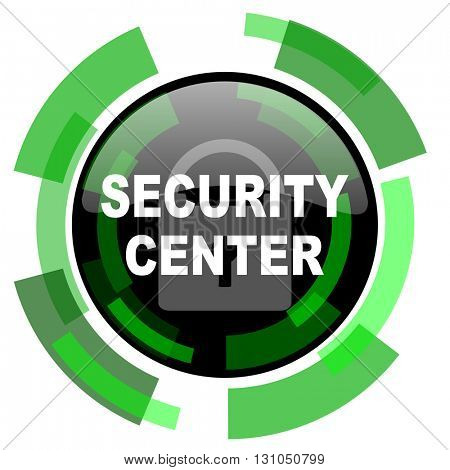 security center icon, green modern design glossy round button, web and mobile app design illustration