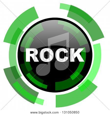 rock music icon, green modern design glossy round button, web and mobile app design illustration