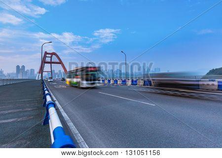 motion blurred traffic on bridge,chongqing china.