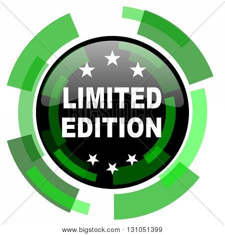 limited edition icon, green modern design glossy round button, web and mobile app design illustration