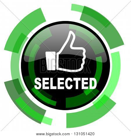 selected icon, green modern design glossy round button, web and mobile app design illustration