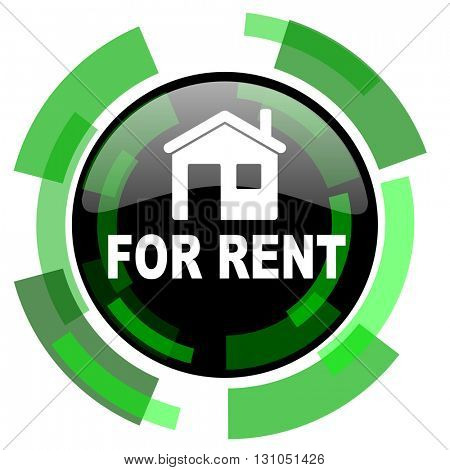 for rent icon, green modern design glossy round button, web and mobile app design illustration