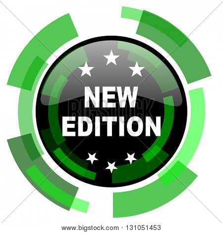 new edition icon, green modern design glossy round button, web and mobile app design illustration