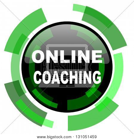 online coaching icon, green modern design glossy round button, web and mobile app design illustration