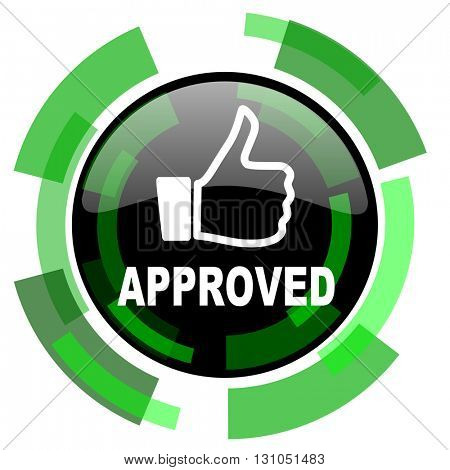 approved icon, green modern design glossy round button, web and mobile app design illustration