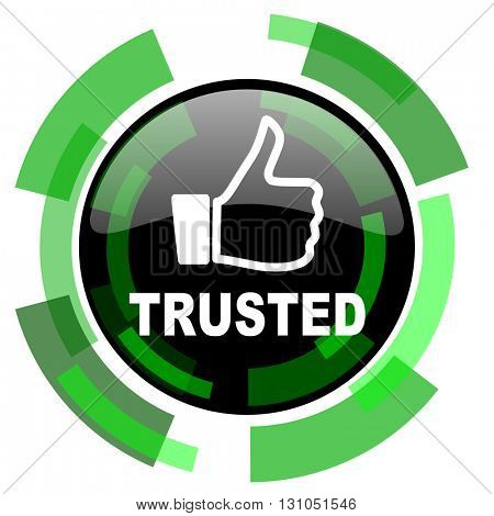 trusted icon, green modern design glossy round button, web and mobile app design illustration